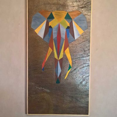 ELEPHANT POLYGONE Artwork Picture Stone Wood Oil 1
