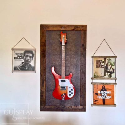 Guitar Display Vertical Horizontal wall hanger Guisplay Snake Support Guitar Display and Wall Art Framed Creation19(watermarked)