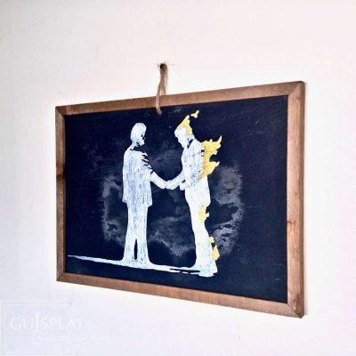 Slate Painting Guisplay Pink Floyd Wish you were here David Gilmour Waters Ardoise Slate Framed Wall Art Creations2